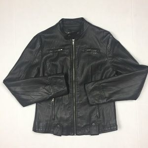 Last kiss faux leather jacket black zip up Medium